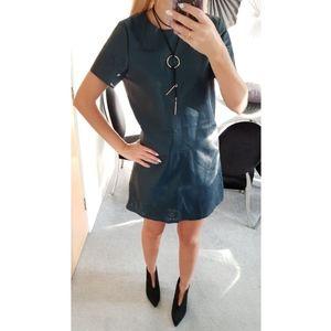 Zara Black Faux Leather Short Sleeve Dress